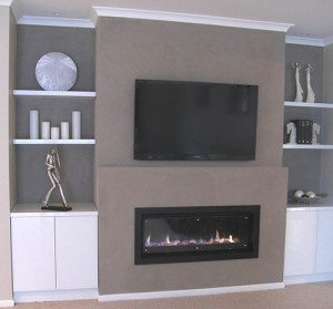 Gas Log Fire Over a TV