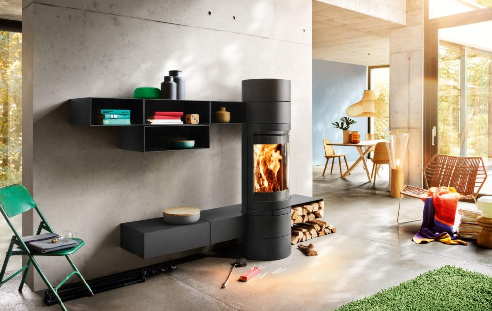 Skantherm Elements Round Wood Burning Fireplace