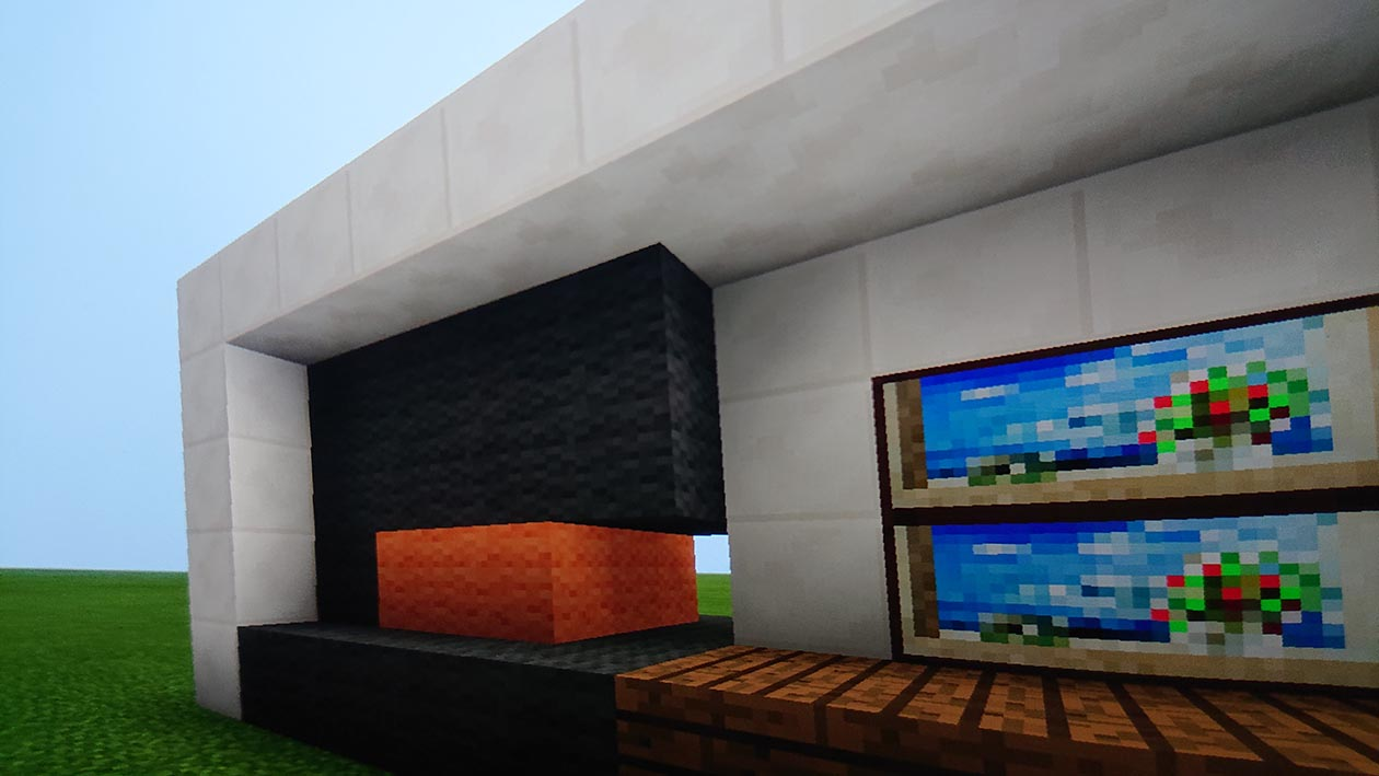 Minecraft design of the fireplace